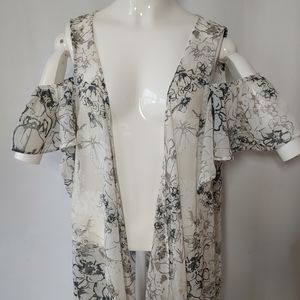 Tops - Sheer Cold Shoulder Floral Kimono One Size